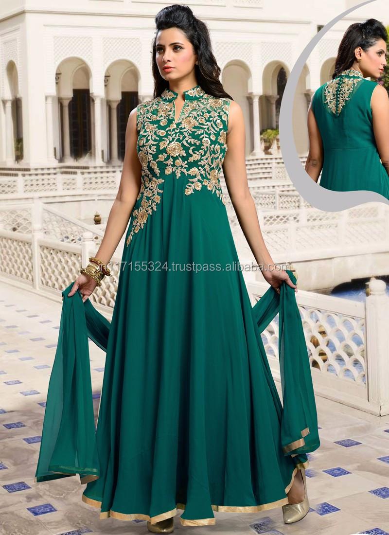 Designer Indian Anarkali Suit - Designer Party Wear Heavy Anarkali Suits -  Online Shopping India Clothes - Silk Anarkali Suits - Buy Designer Indian