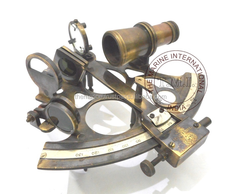"Large Brass Sextant Kelvin /& Hughes 8/"" w// Wooden Case Antiqued Nautical Decor"