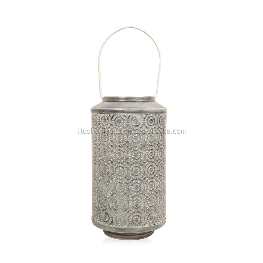 Home Decor - Grey Colour Laser Cut Floral Pattern Lantern Ceremic Finish Lanterns