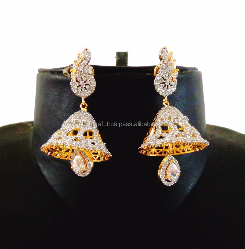 cz vol sd earrings studded ad diamond designer indian style jhumka