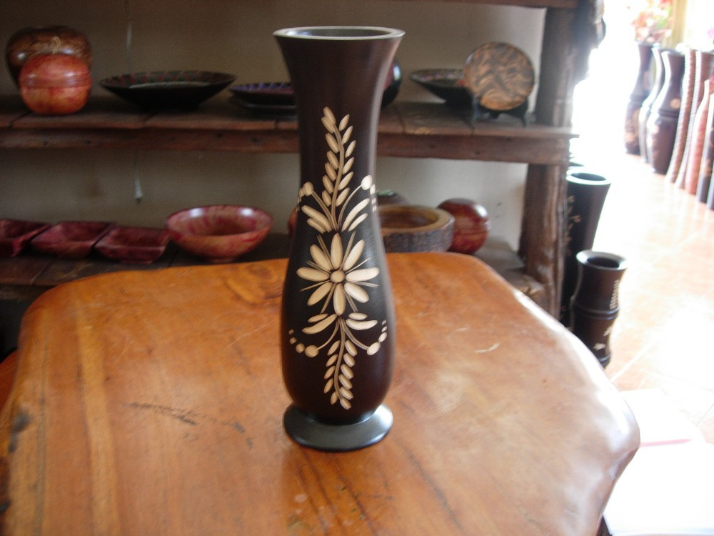 Mango Wood Vase Small Size Decorated With Flower Black Color Modern