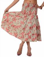women long skirt top cotton maxi printed bohemian floral cream pink