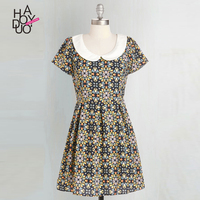 HAODUOYI Women Fashion Zipper Back Short Sleeve Peter Pan Collar Vintage Elegant Floral Print A-Line Summer Dress for Wholesale