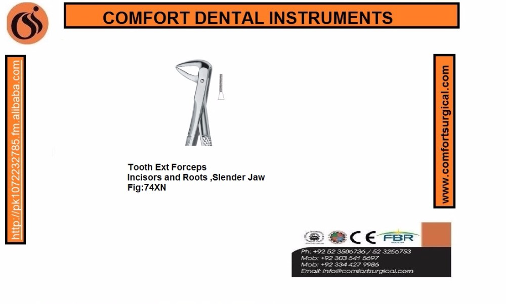 Dental Tooth Extracting Forceps Incisors and Roots ,Slender Jaw74XN Fig.74 XN English Pattern