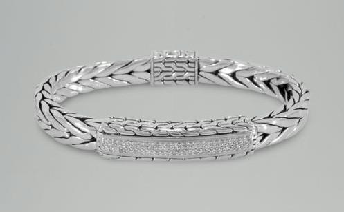 Diamond Mens Bracelet In 14k White Gold