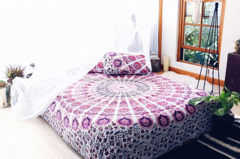 Mandala Doona Cover Roundie Flat Sheet U0026 Matching Pillowcases Hippie Indian  Mandala Bedspread Dorm Decorative Bed