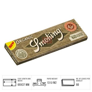Smoking Single Wide Organic Hemp Rolling Papers