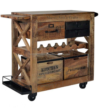 Wrought Iron And Wood Furniture With Industrial Wrought Iron Wooden Bar Trolly Cabinet Buy Antique