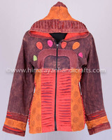 Razor Cut Contrasting Embroidered Patchwork Zipped Up Bohemian Hoodies Jacket CSWJ 407A