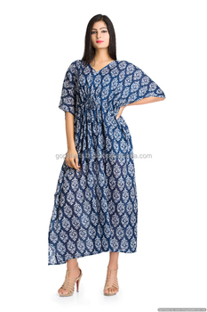 57af554c27 Indian Kaftan Beach Cover Up Boho Bikini Cover Long Dress Plus Size Maxi  Floral Printed Top