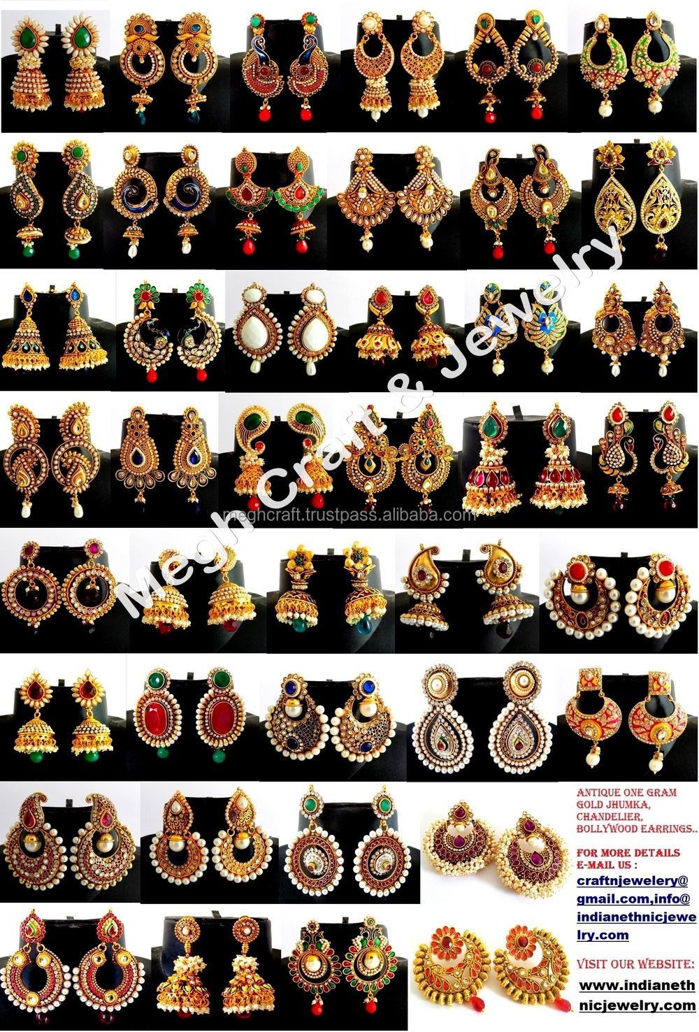 b444e38f66 Wholesale Indian Ethnic Earring - One Gram Gold Jewelry -south ...
