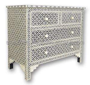 Indiano stile marocchino osso di cammello intarsio petto di mobili cassetto osso madreperla - Mobili stile indiano ...
