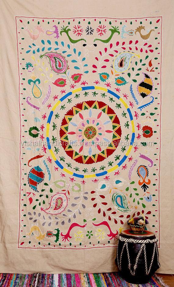 Twin Suzani Throw Hand Embroidered Suzani Wall Hanging Suzani Tapestry
