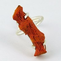 Time For Love Coral Prong Setting 925 Sterling Silver Ring, Silver Jewelry 925, Sterling Silver Jewelry