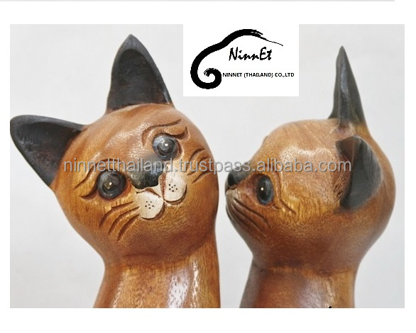 Crafts Wooden Cat From Thailand Buy Wood Animals Wood
