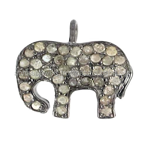 Studded Diamond Animal 925 Sterling Silver Elephant Charm Pendant