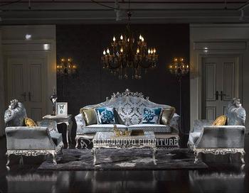 Italian Blue Fabric Luxury Sofa