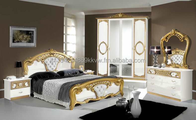 Sibillia Bedroom Set In White And Gold - Buy Bedroom Product on Alibaba.com