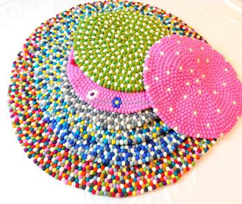 Felt Ball Rug Handmade In Nepal 100% Pure New Zealand Wool Rugs Carpet
