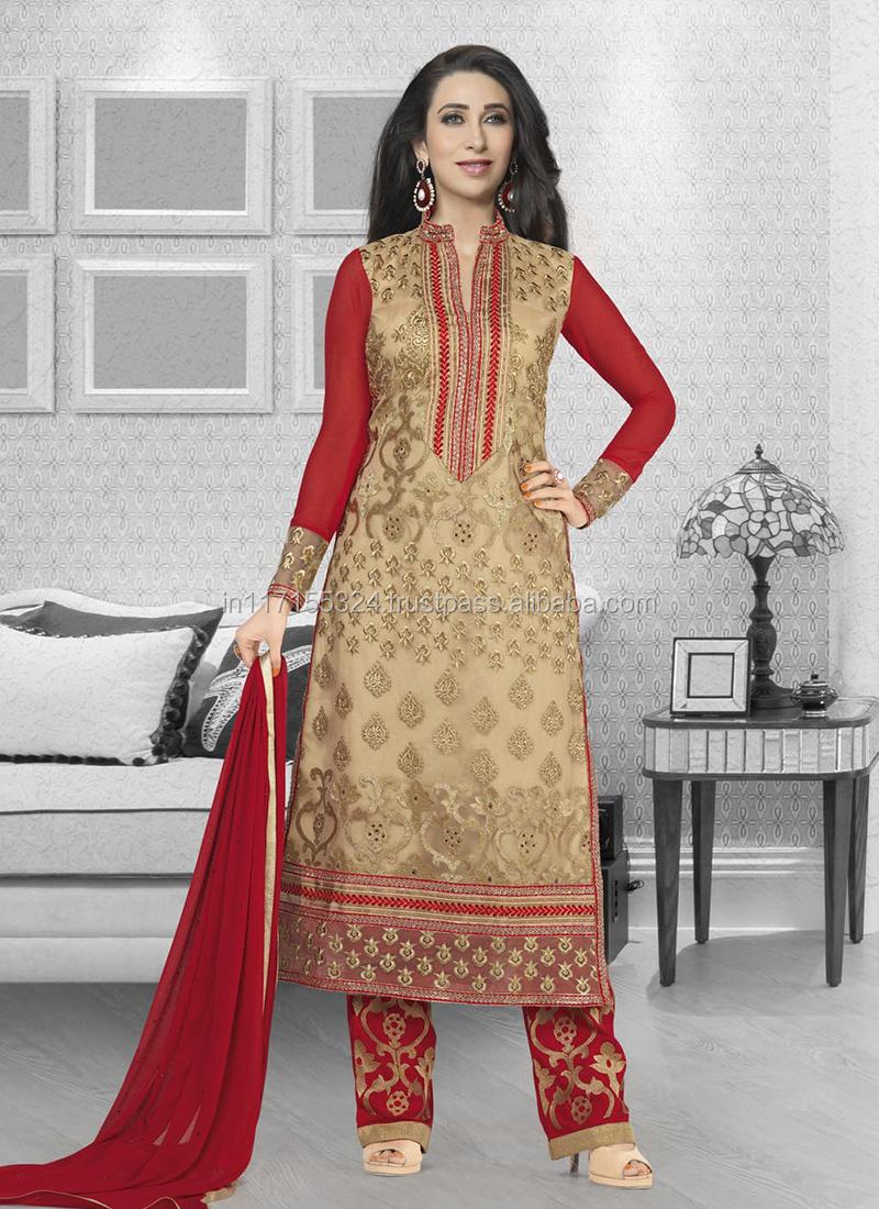 Salwar Kameez\karishma Kapoor Green Georgette Straight Salwar ...