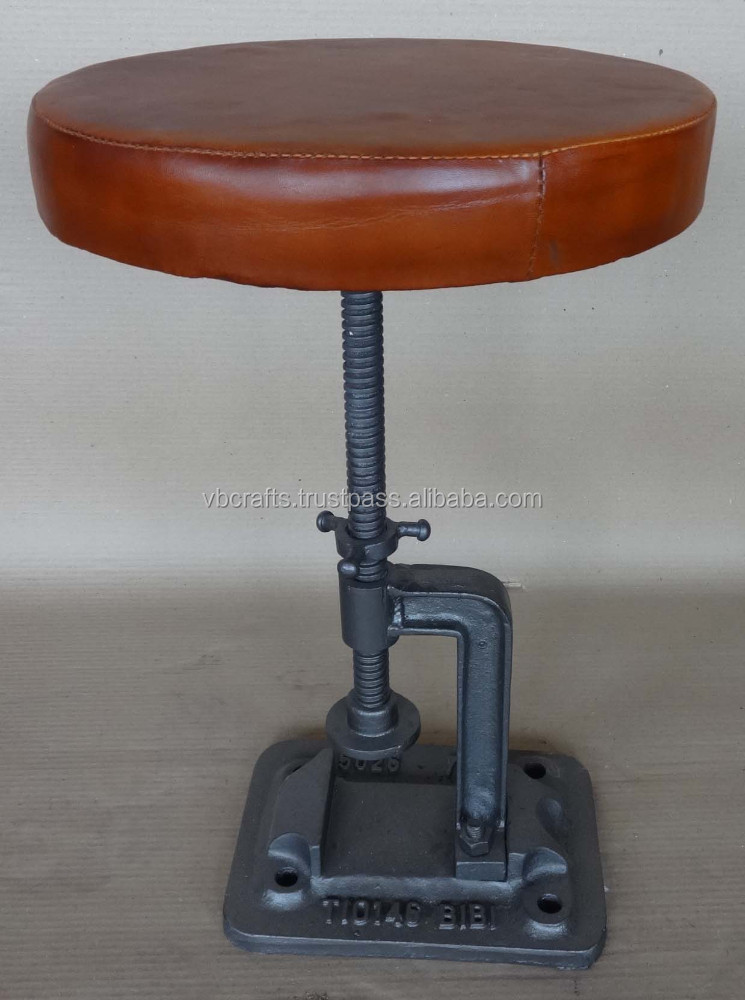 Industrial Swivel Stool With Round Leather Seat Cast Iron Base - Buy Vintage Industrial StoolsIndustrial Stool With Leather SeatRailway Sleeper Stool ... & Industrial Swivel Stool With Round Leather Seat Cast Iron Base ... islam-shia.org