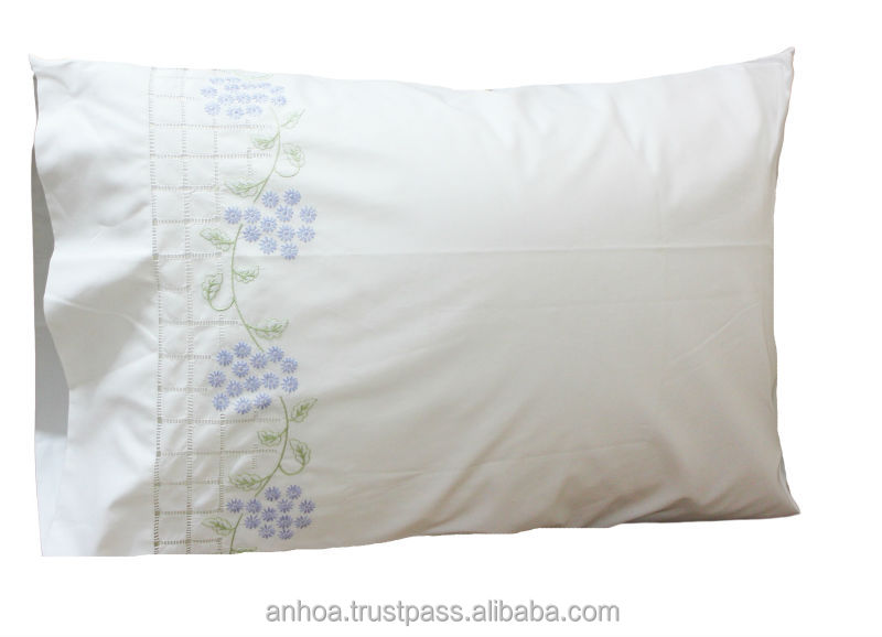 100 Cotton Hand Embroidery Flower Pattern Pillow Cases