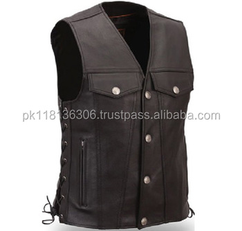 Men Black Genuine Leather Vest with Front Strap Closure Pockets - 100%