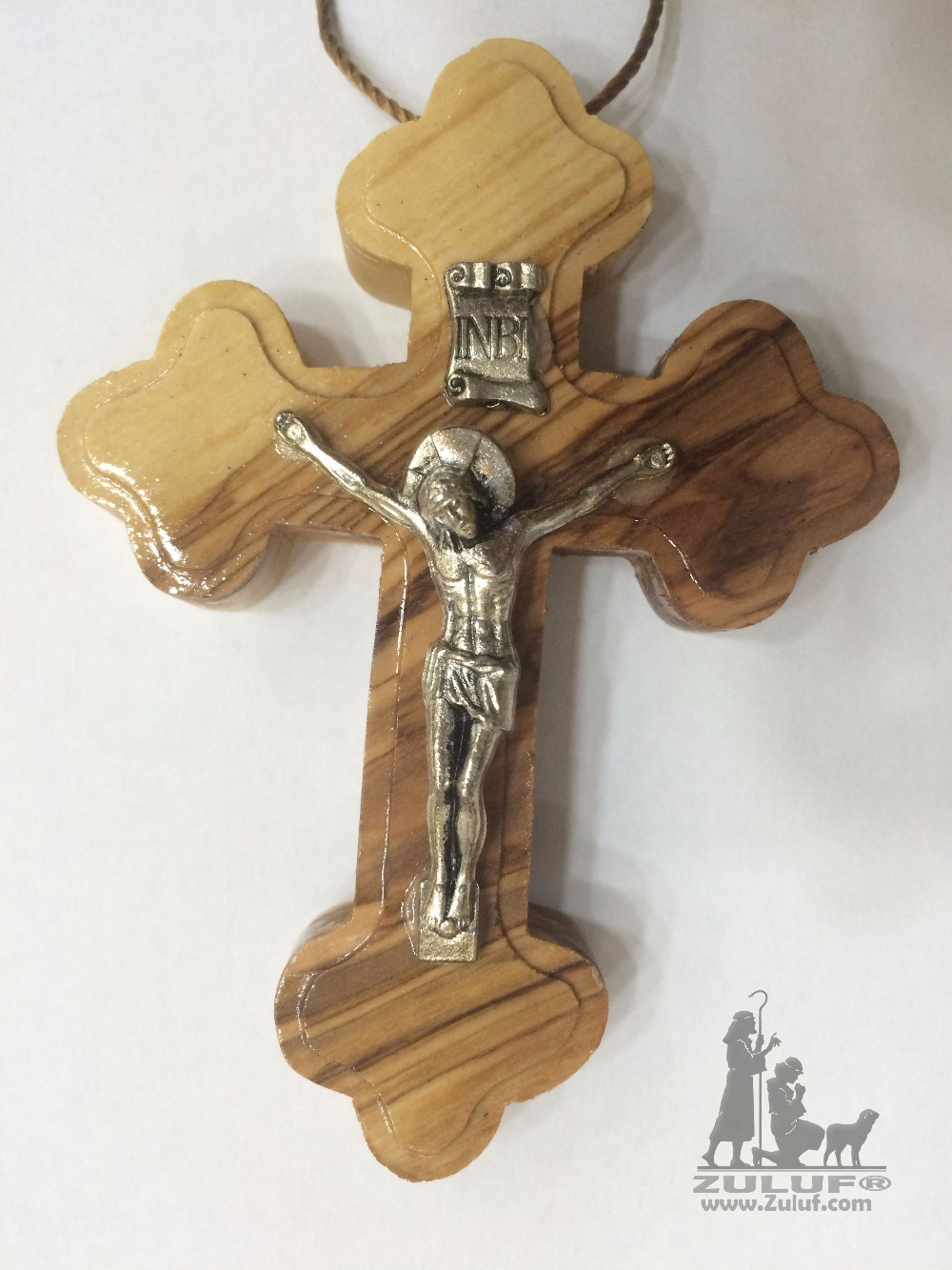 10cm Orthodox Cross with Crucifix Hand Carved Olive Wood - CRS059 Zuluf
