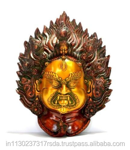 Mahakala Buddha Mask Brass Metal Figure Antique Tibet Buddhism Tibetan Vajrapani Wall Hanging Art Decor