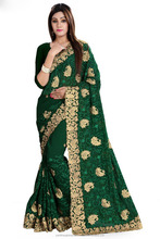 Attractive Silk Fabric Embroidered Work Wholesale Party Wear Saree Catalog Seller