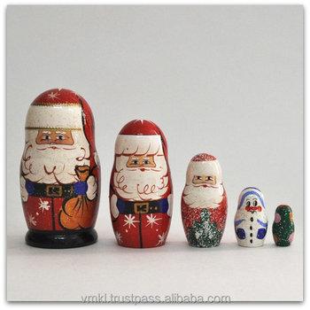 5 Pcs Santa Claus Nesting Doll,Father Christmas Matryoshka,Christmas ...