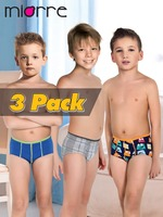 Miorre OEM Wholesale New Fashion 2017 Kid's Underwear Modal/Cotton Boy Boxer Brief 3 Pack