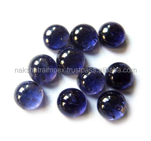 Natural Iolite 8mm Round Cabochon Loose Gemstone