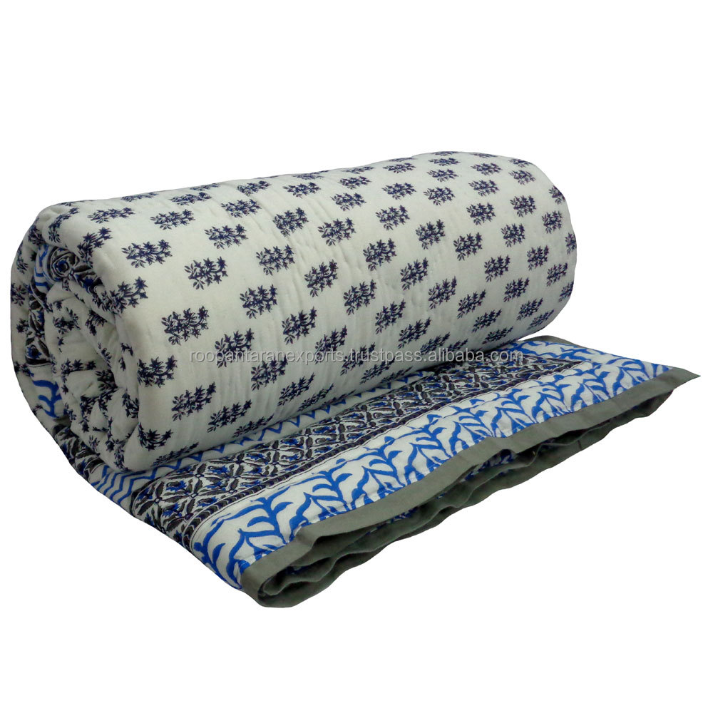 Booti Blue King size cotton block printed indian Quilt