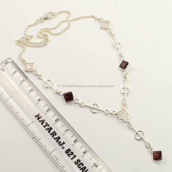 Trendy Necklace 925 Sterling Silver Natural RAINBOW MOONSTONE & GARNET Gemstones ! Manufacturer