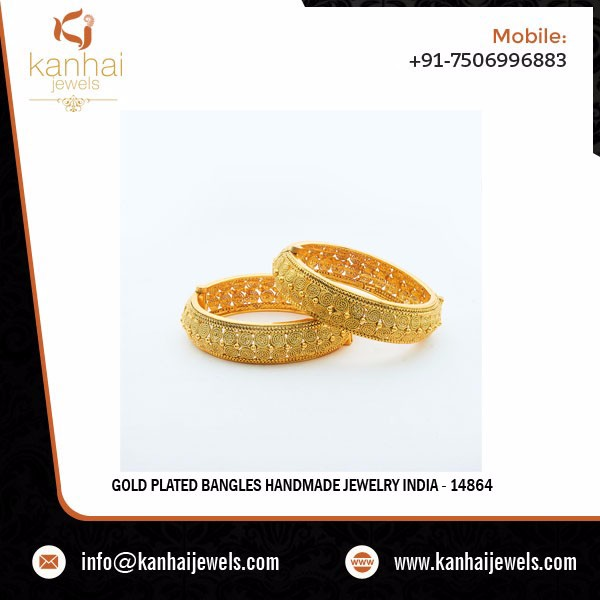 Gold Plated Bangles Handmade Jewelry India - 14864