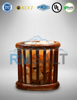 Round Shape Wooden Baskets Lamps With Salt Chunks