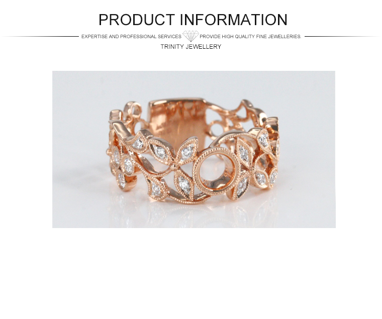 Latest Design Rose Gold Oliver Leaf And Flower Shaped Real Diamond ...