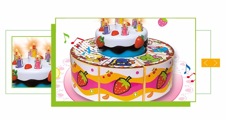 Hot Sale Pretend Play Plastic Fake Birthday Cake With Candles