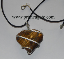 Tiger Eye Heart Shapped Wrapped Pendants With Black Cord |Wholesale Agate Jewellery from Prime Agate Exports