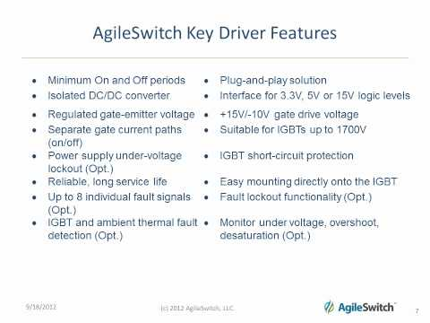 AgileSwitch Overview IGBT Driver