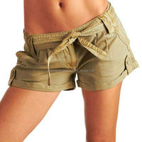 Brown Ladies Sheep Leather Shorts