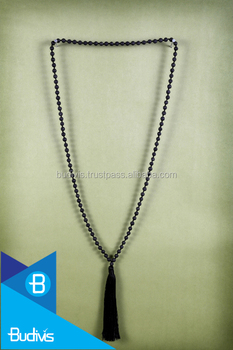 Black lava stone long mala necklace with tassel