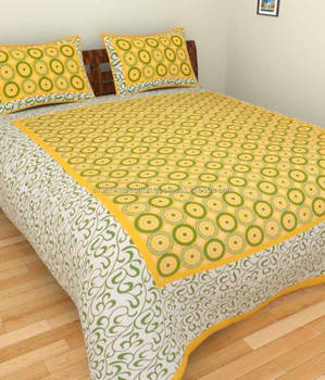 Rajasthani Jaipuri Designer Bed Sheets 100% Cotton Double Bed Sheets With  Pillow In Home Decor