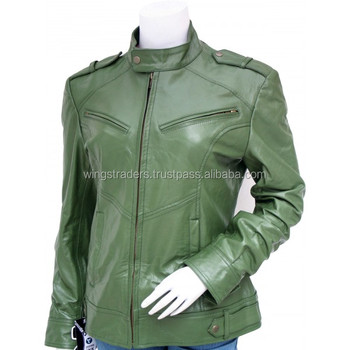 Real Lamb Leather Hand Made Olive Green Women Leather Jacket Buy