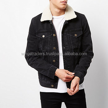Black Stylish Denim Jacket With Fur Collar For Men - Buy Jackets ...