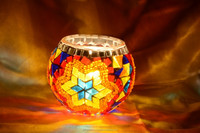 Set of 3 Mosaic Glass Tealight Candle Holders , Glass Mosaic Candle Holders