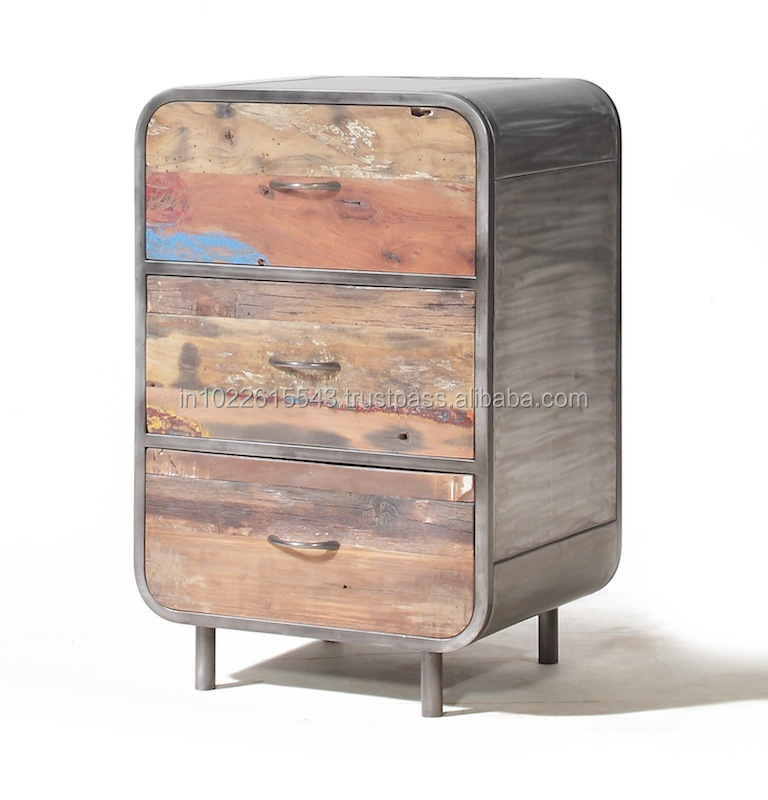 Industrial RECLAIMED WOOD Chest of 6-DRAWER on wheels - Industrial Reclaimed Wood Chest Of 6-drawer On Wheels - Buy Wooden