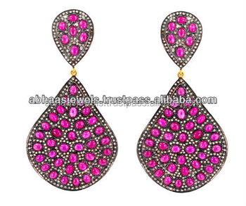 ba75a0e889a338 14k Gold Micro Pave Diamond Ruby Gemstone Dangle Earrings Handmade Silver  Jewelry