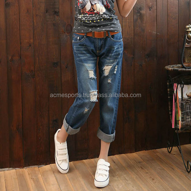 Highly Distressed Denim Jeans Pants High Quality Wholesale Custom